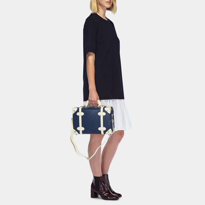 The Entrepreneur Vanity in Navy - Vintage-Inspired Luggage - Exterior Front with Model