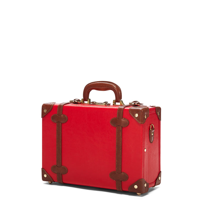 The Entrepreneur Briefcase in Red - Vintage-Inspired Vegan Luggage - Exterior Front