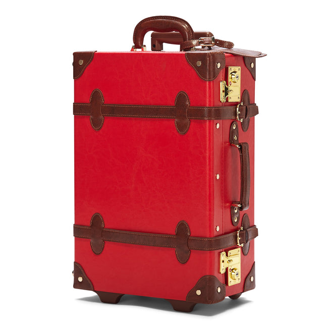 The Entrepreneur Carryon in Red - Vintage-Inspired Vegan Luggage - Exterior Front
