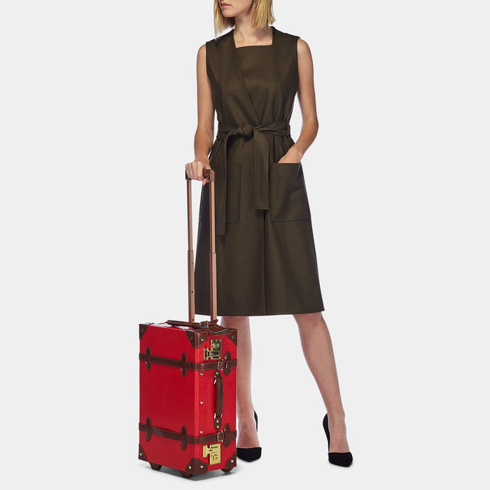 The Entrepreneur Carryon in Red - Vintage-Inspired Vegan Luggage - Exterior Front with Model