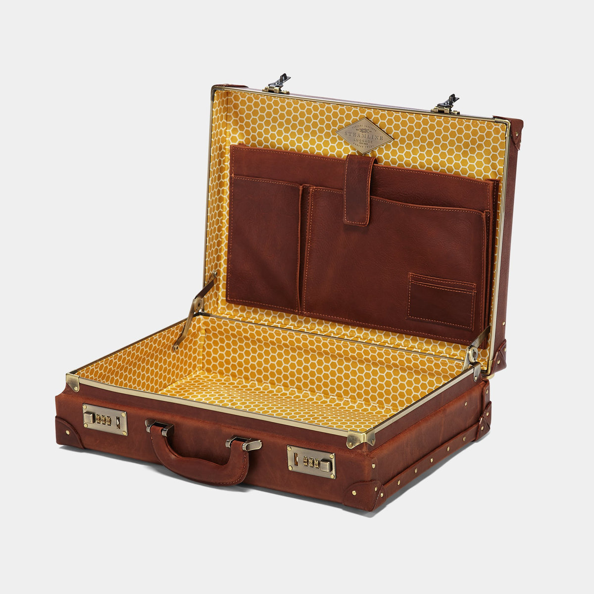 The Pioneer Executive Briefcase - Vintage-Style Leather Briefcase - Interior Front