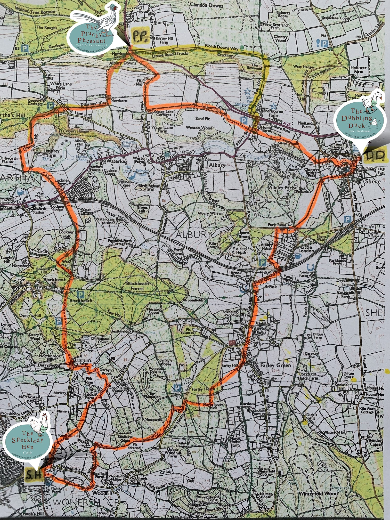 3 cafes circular walk map