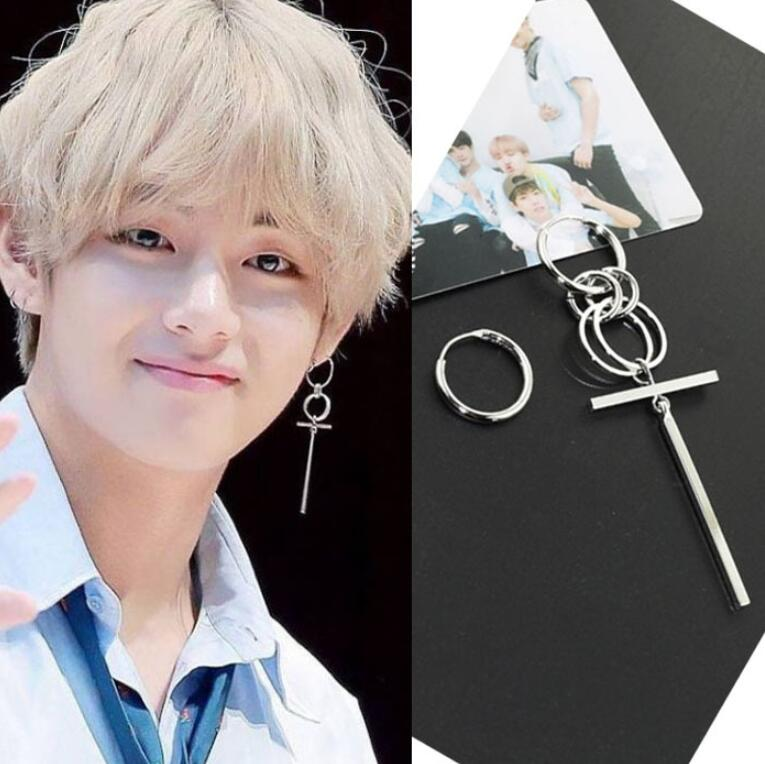 BTS JIMIN Silver Cross Earrings - BTS Merch & Kpop Merch
