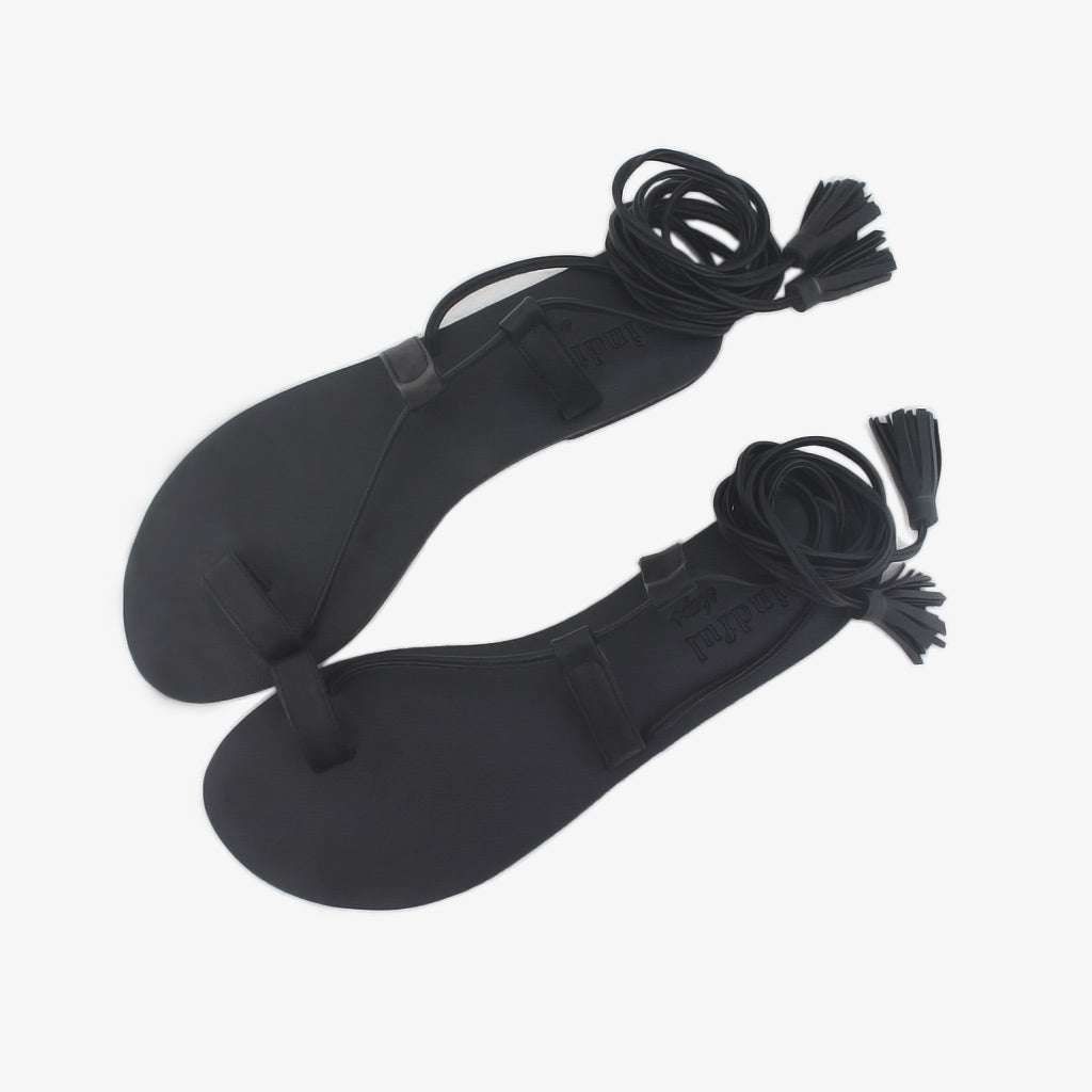 Alchemy strappy sandals in black vegan leather