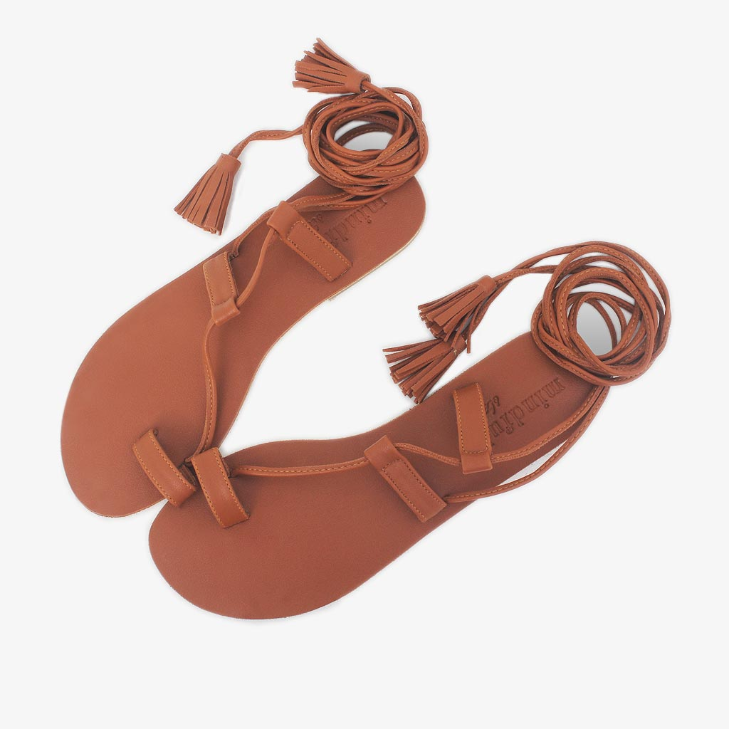 Alchemy strappy sandals in tan vegan leather