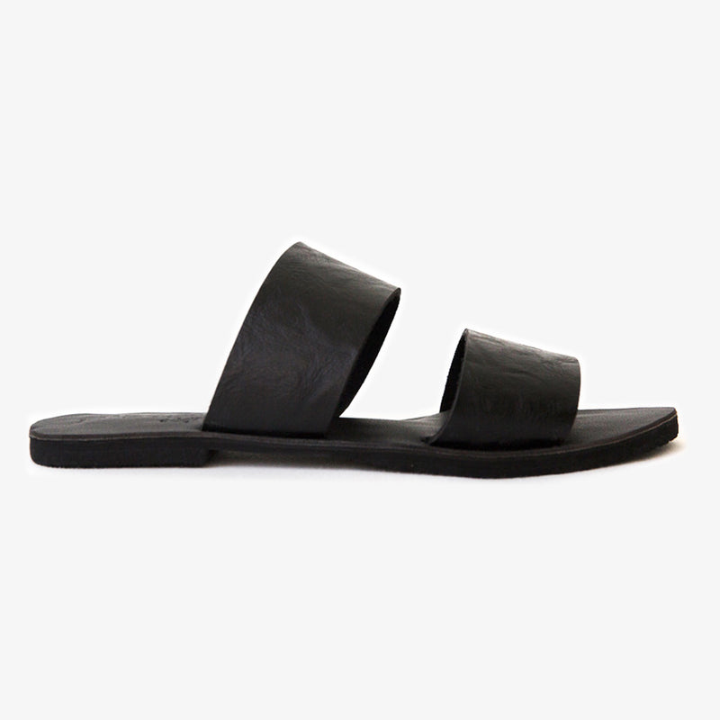 Bohdi slide in black vegan leather