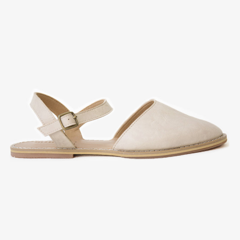 Flora sandal in cream vegan leather