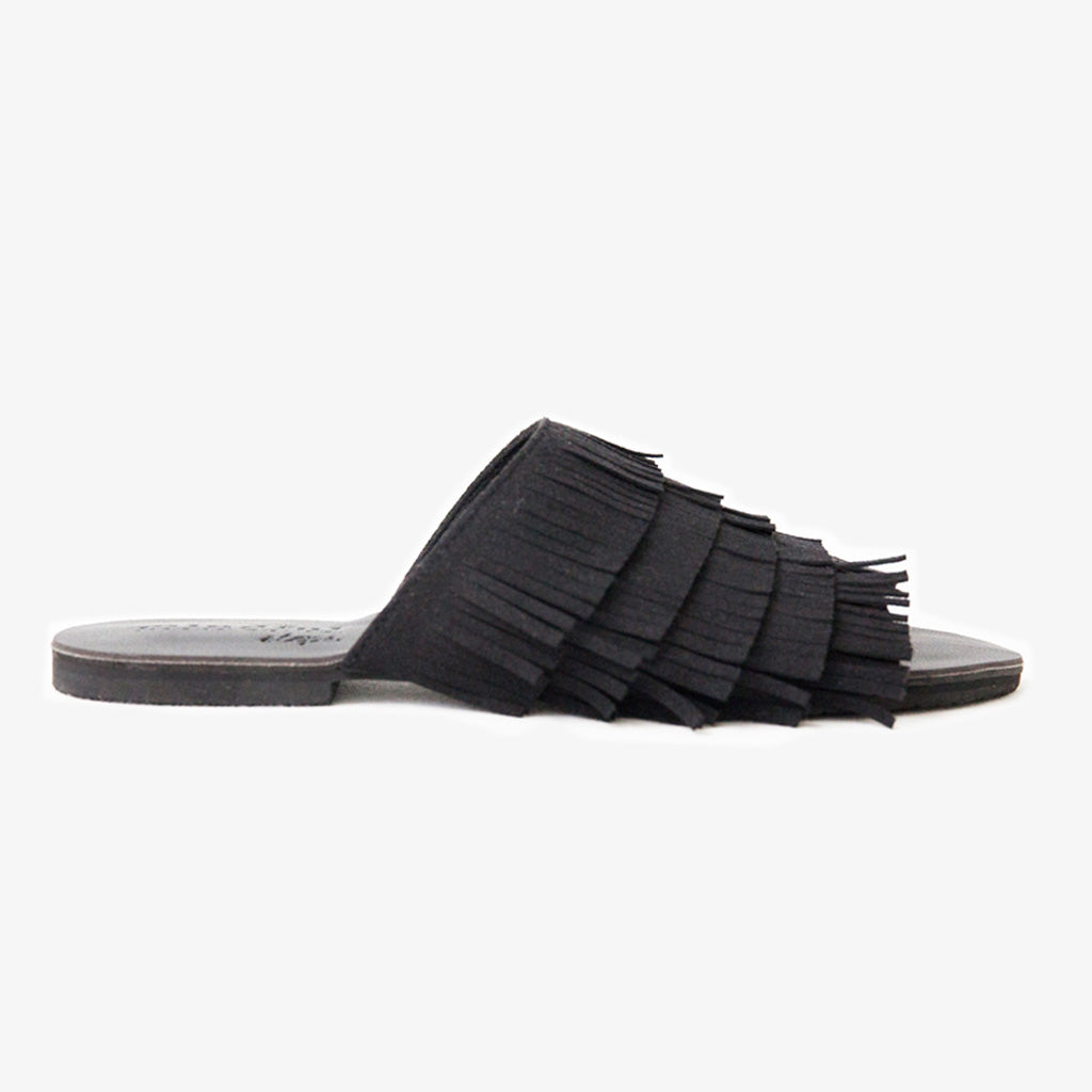 Gigi Fringe Slide in Black Vegan Suede