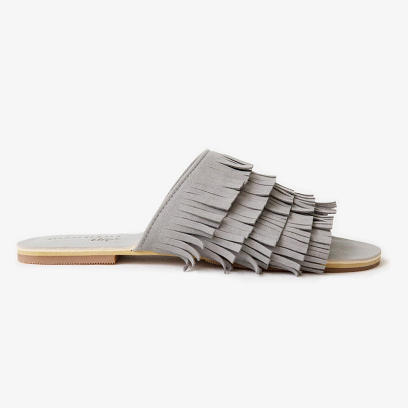 Gigi Fringe Slide in Grey Vegan Suede