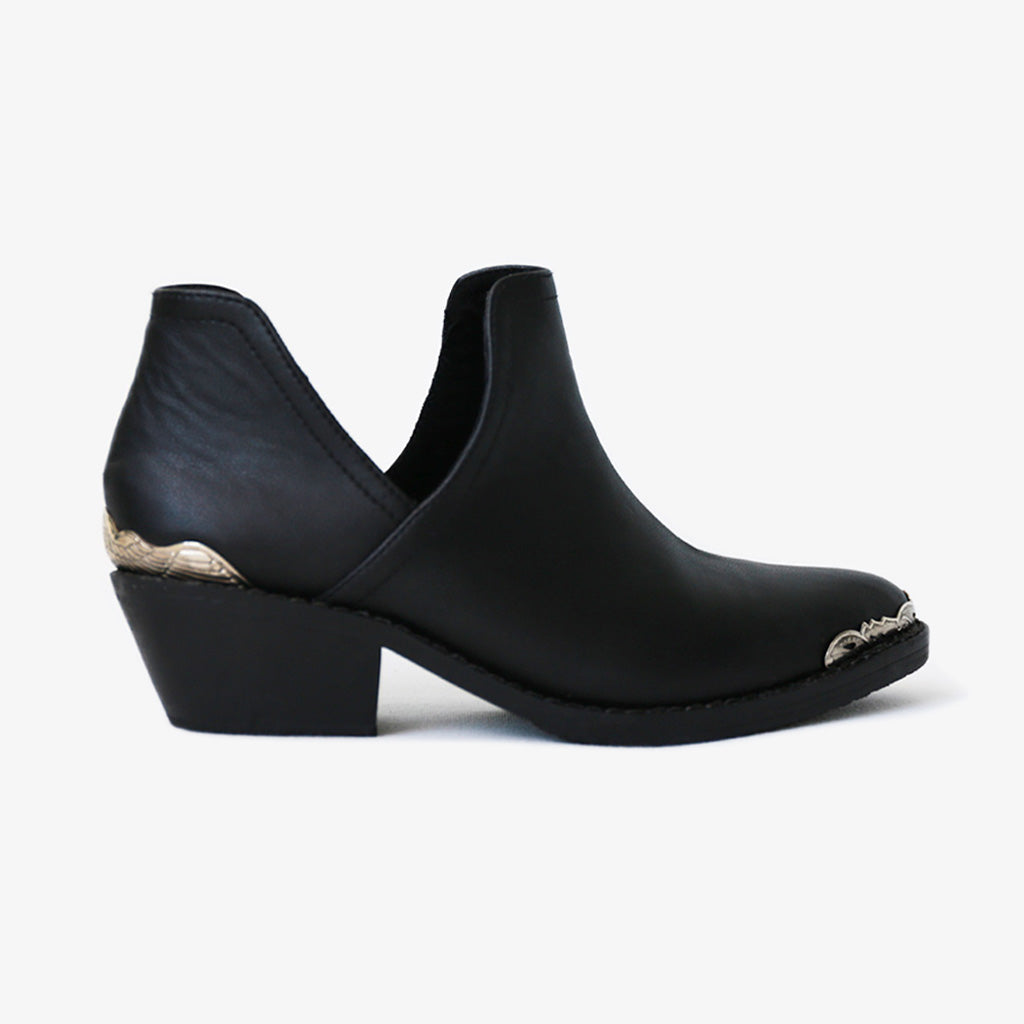 Lotus boot in Black Vegan Leather