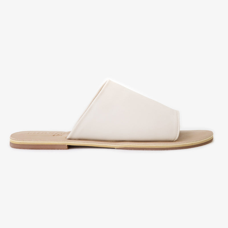 Sage Slide in Cream Vegan Leather