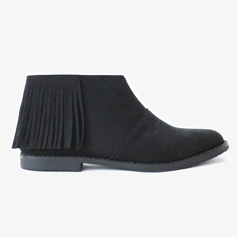 Vina Fringe Boots in Black Vegan Suede