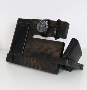 Cell phone charging station Wood charging station Wood organizer Wood docking station by PromiDesign