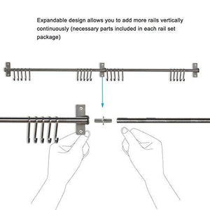 Organize with fasthomegoods stainless steel gourmet kitchen wall rail with 10 large s hooks