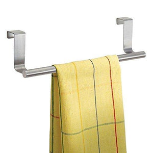 Purchase kozanay towel bar with hooks for bathroom and kitchen brushed stainless steel towel hanger over cabinet door