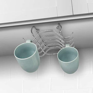 Save blikke decorative kitchen mounted under cabinet or or over the shelf rack holder for hanging coffee mugs and tea cups 10 x 8 5 x 3 inches chrome