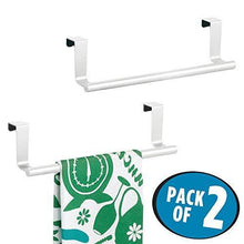 Discover the best mdesign decorative metal kitchen over cabinet towel bar hang on inside or outside of doors storage and display rack for hand dish and tea towels 9 wide 2 pack matte white