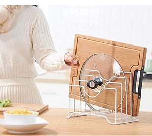 Great haga pot lid organizer kitchen shelf pan rack cutting board holder storage pot lid organizer stands tapas cover stand stainless steel dish kitchen rack white
