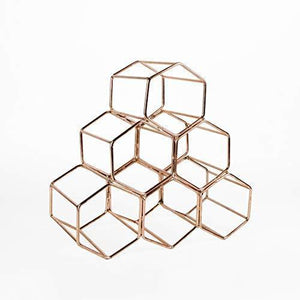 Heavy duty koyal wholesale modern metal copper geometric wine rack 12 5 inches 6 bottle wine glass rack stand table top countertop wine rack wine glass holder hexagon iron wine stand for kitchen and bar