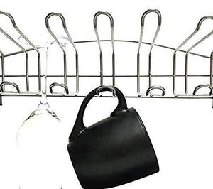 Buy now 3 tier mug organizer rack with drainer tray 12 hooks for drying wine glasses coffee mugs tea cups space saving storage holder for kitchen cabinet counter tabletop stainless steel plastic