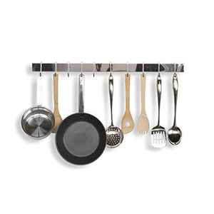 Shop wallniture kitchen bar rail pot pan lid rack organizer chrome 30 inch set of 2