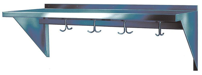 Winholt SSWMSH104 Fabricated Wall Mounted Stainless Steel Shelves with Pot Hooks, 10