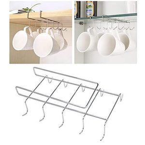 Online shopping wellobox coffee mug holder under cabinet cup hanger rack stainless steel hooks cup rack under shelf for bar kitchen storage fit for the cabinet