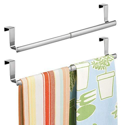 Top rated binovery adjustable expandable kitchen over cabinet towel bar hang on inside or outside of doors storage for hand dish tea towels 9 25 to 17 wide 2 pack brushed stainless steel