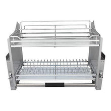 Great pull down 2 tier chrome steel wire dish drainer rack utensils basket shelf plate holder for 800mm width cabinet kitchen