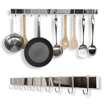 Select nice wallniture kitchen bar rail pot pan lid rack organizer chrome 30 inch set of 2