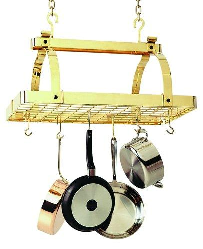 Enclume PR1nbwg-BP Classic Rectangle No Center Bar with Grid Premier Ceiling Rack, Brass