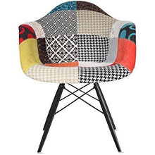 Products 2xhome set of 2 multi color modern upholstered molded armchair fabric chair patchwork multi pattern dark black wood wooden leg eiffel dining room industrial desk accent living bedroom kitchen