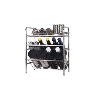 Top spice rack organizer fresh household 3 tier spice jars bottle stand holder stainless steel kitchen organizer storage kitchen shelves rack silver