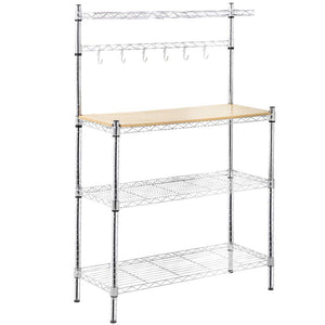Online shopping metal bakers rack organizer stand shelf kitchen microwave cart storage countertop dorm microwave stand kitchen storage shelving with cutting board microwave shelf hooks for kitchen nsf certification