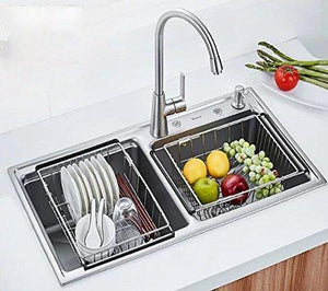 Latest kitchen sink 304 stainless steel drain basket wash fruit basket drain basket vegetables drainage sieve