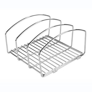 Buy now decoformax metal wire cookware organizer rack for kitchen cabinet pantry and shelves organizer holder with three slots for cookie trays muffin tins bread pans cutting boards