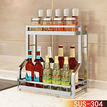 Discover the best spice rack organizer fresh household 2 tier spice jars bottle stand holder stainless steel kitchen organizer storage kitchen shelves rack