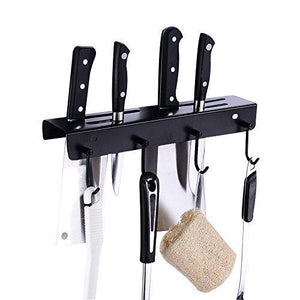 Save ucas rustic kitchen rail organizer with 4 hooks and 4 knife holders wall mount stainless steel pot pan lid holder rack matte black