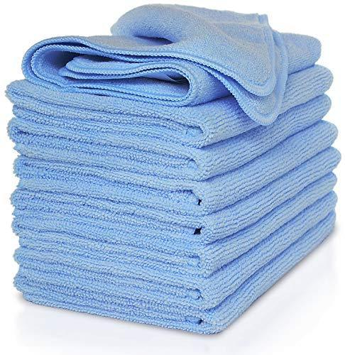 Select nice vibrawipe microfiber cloth pack of 8 pieces all blue microfiber cleaning cloths high absorbent lint free streak free for kitchen car windows