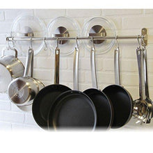 Exclusive tevizz gourmet kitchen wall mount rail and hooks stainless steel pot pan lid holder rack