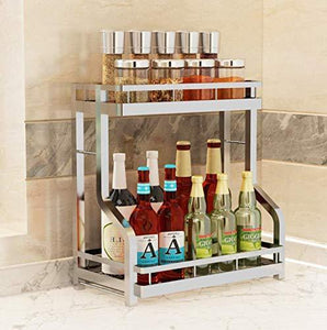 Discover the spice rack organizer fresh household 2 tier spice jars bottle stand holder stainless steel kitchen organizer storage kitchen shelves rack