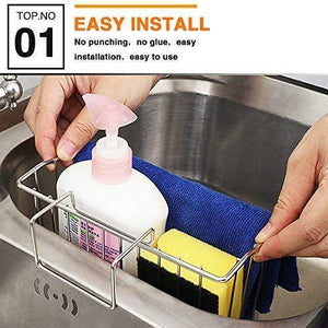 On amazon chilholyd sponge holder sink caddy sink organizer caddy kitchen brush soap stainless steel hanging drain basket for soap brush dishwashing liquid sink organizer drainer rack