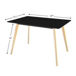 Cheap jerry maggie dinner table desk large family size with wood legs stone like polish surface multi purpose work study living room kitchen furniture decor modern fashion simple rectangle black