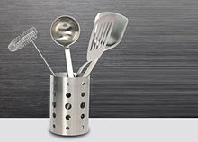 On amazon topoko thick stainless steel circular hole tableware cage chopsticks tube storage brush holder kitchen caddy utensil holder 4x6 inch