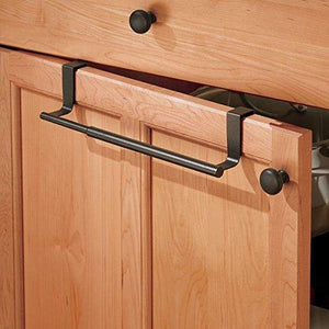Shop mdesign adjustable expandable kitchen over cabinet towel bar rack hang on inside or outside of doors storage for hand dish tea towels 9 25 to 17 wide bronze