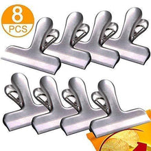 Organize with andrimax chip bag clips 8pcs premium stainless steel chip clips with 3 inch wide all purpose heavy duty seal grip clips for kitchen office school