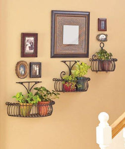 Latest set of 3 multi use wall basket shelf elegant metal indoor outdoor scroll tier shelves patio planter kitchen bathroom storage organization display home accent decor