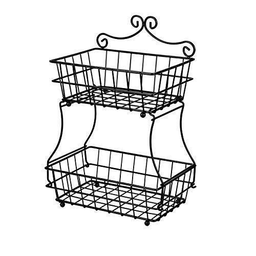 Related linkfu 2 tier fruit bread basket removable screwless metal storage basket rack for snack bread fruit vegetables counter table kitchen and home black