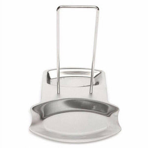Kitchen pevor lid and spoon rest stainless steel pan pot cover lid rack stand spoon rest stove organizer storage soup spoon holder for home kitchen and bar tools silver