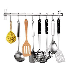 Explore tevizz kitchen utensil rack wall mounted hanger space saver stainless steel rack rail storage organizer kitchen tools for hanging knives spoon pot and pan with removable s hooks